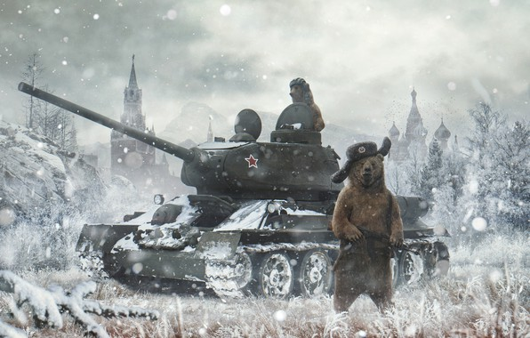 Picture Winter, Snow, Bear, Bears, The Kremlin, St. Basil's Cathedral, Russia, Machine, Art, Tank, T-34, Russian, …