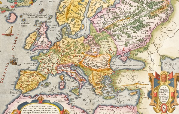 Picture Europe, old maps, old maps, Hand coloured engraved map, ancient Europe, Antwerp, 1603, Abraham Ortelius, …
