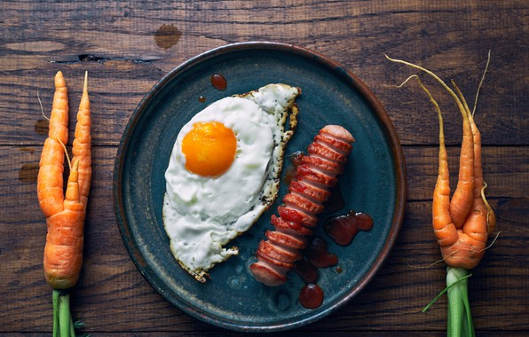 Picture carrots, sausage, eggs