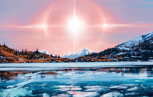 Picture The sun, Nature, Figure, Lake, Light, Solar, Aenami, by Aenami, Alena Aenam The, by Alena …