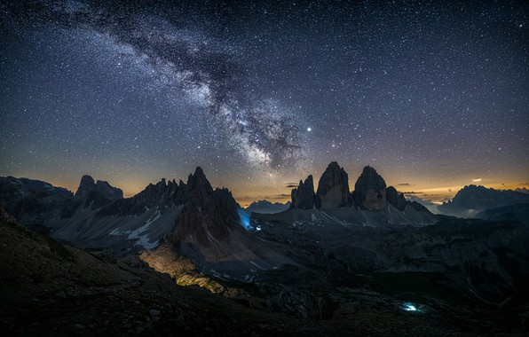 Picture the sky, light, mountains, night, nature, stars, Italy, the milky way, The Dolomites