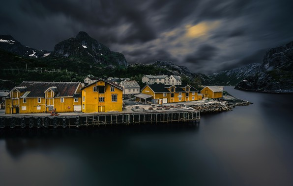 Picture the sky, mountains, clouds, stones, rocks, home, Norway, twilight, the fjord, The Lofoten Islands, Nusfjord