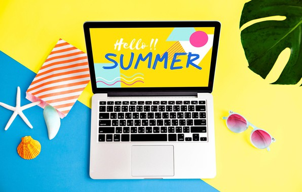 Picture summer, the inscription, glasses, laptop
