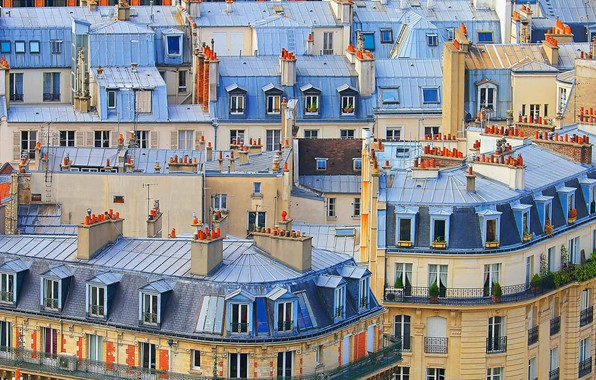 Picture France, Windows, home, the rooftops of Paris