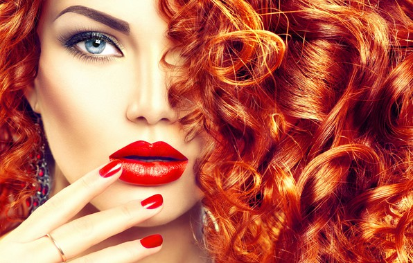 Picture look, girl, hair, makeup, hairstyle, red, curls