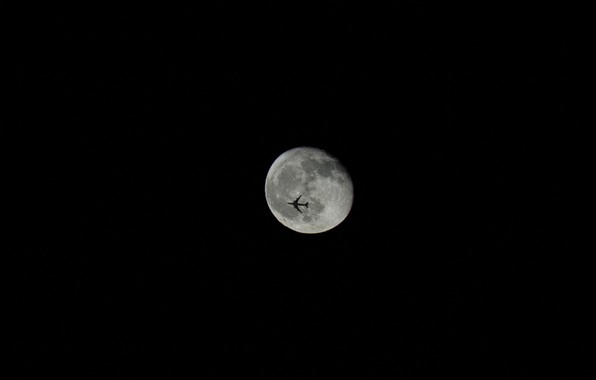 Picture black, the moon, minimalism, the plane