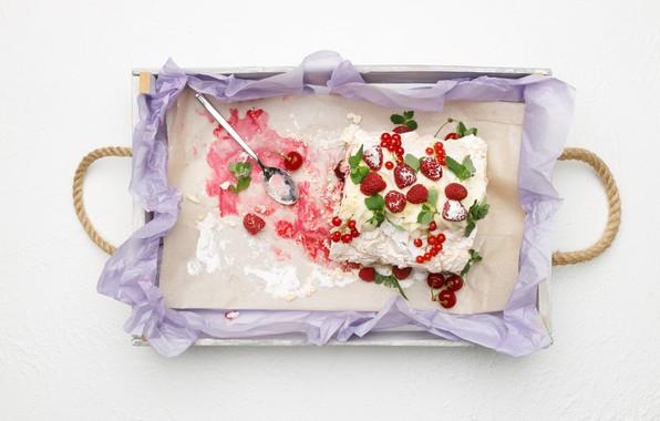 Picture berries, cake, dessert, tray, delicious, meringue