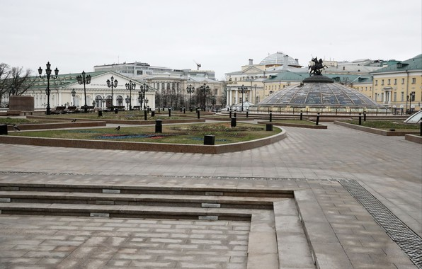 Picture the city, Moscow, Manezhnaya square, solitude, the beginning of April 2020, covid 19 - virus …