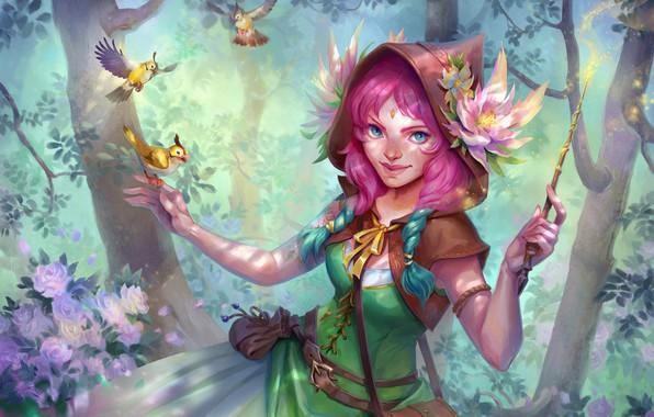 Picture forest, fairy, fantasy, art, birds, children's, Oksana Kerro, Flower witch