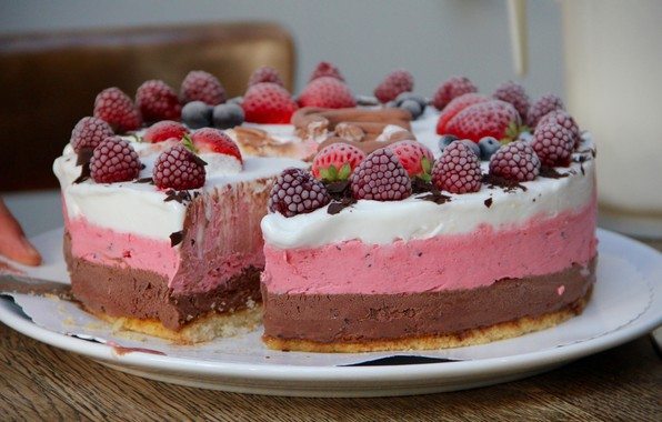 Picture raspberry, strawberry, ice cream, cake, fruit, dessert, sweet
