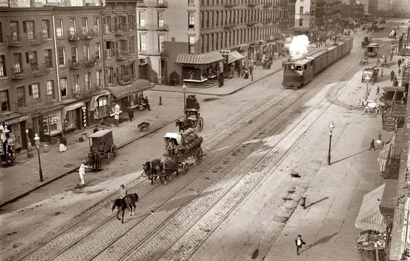 Picture retro, street, rails, train, wagon, USA, New York