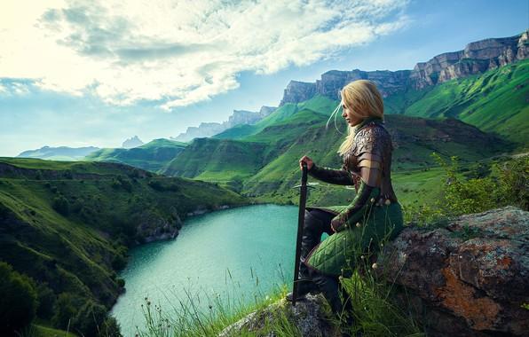 Picture girl, sword, armor, warrior, Daria Lefler
