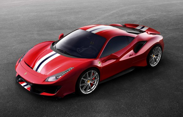 Picture red, Ferrari, 2019, V8 twin turbo, 488 Pista, gray asphalt