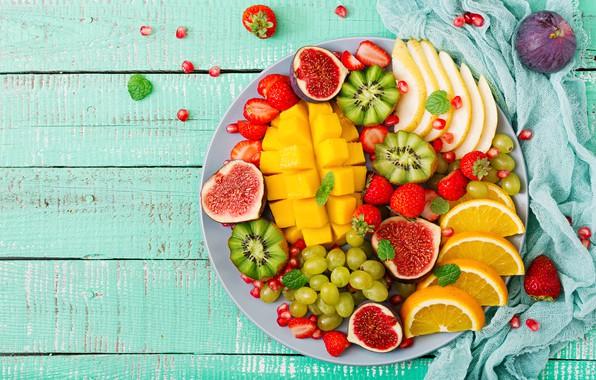 Photo wallpaper berries, orange, colorful, kiwi, strawberry, grapes, summer, fruit, mango, fresh, wood, sweet, strawberry, fruits, berries, ...