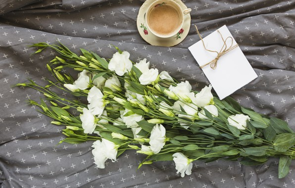 Picture flowers, bouquet, white, flowers, beautiful, romantic, coffee cup, eustoma, a Cup of coffee, eustoma