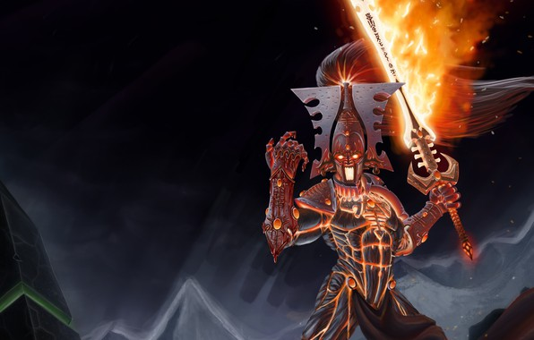 Picture fire, sword, god of war, eldar, Warhammer 40 000, Avatar of Khaine, blood hands
