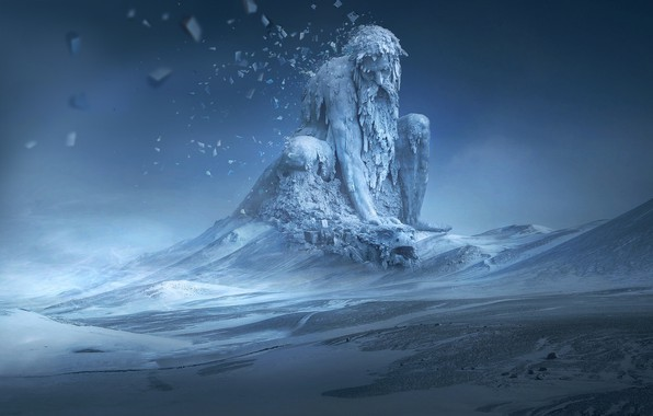 Picture ice, fantasy, winter, snow, digital art, artwork, fantasy art, creature, turtle, Giant