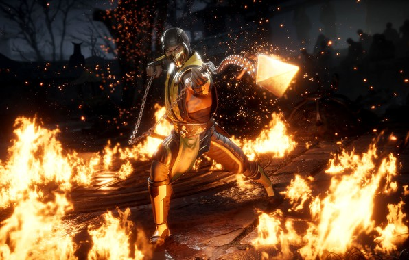 Picture fire, game, Scorpion, ninja, fighting, get over here, MK11, screenshot, NetherRealm Studios, 2019, Mortal Kombat …