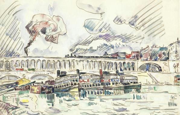 Picture figure, watercolor, 1927, Paul Signac, Paul Signac, The Viaduct and Mouche Bridge at Auteuil