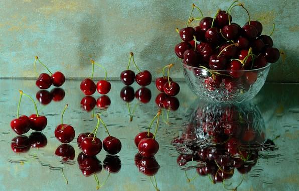 Picture drops, cherry, reflection, wet, vase