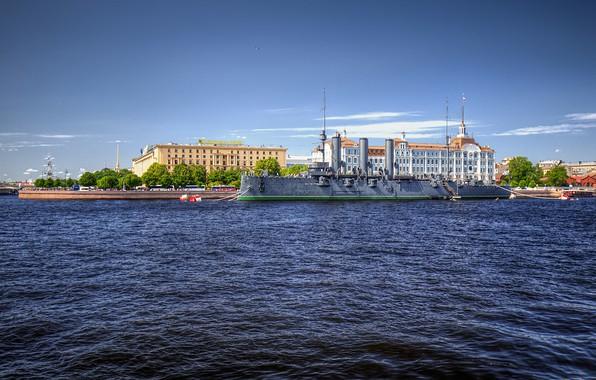 Picture the sky, the sun, river, ship, home, Saint Petersburg, Aurora, Russia, promenade, Neva