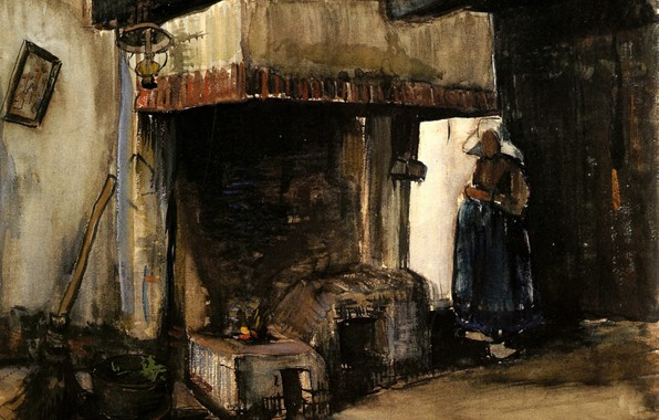 Picture woman, stove, Vincent van Gogh, Woman by a Hearth