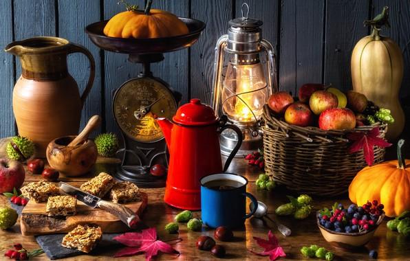 Picture berries, basket, apples, lamp, kettle, mug, lantern, pumpkin, pitcher, nuts, Libra, chestnuts, autumn still life