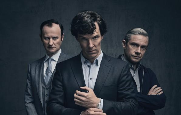 Picture background, trio, Martin Freeman, Benedict Cumberbatch, Benedict Cumberbatch, Sherlock, Mark Gatiss, Mycroft Holmes, Sherlock BBC, …