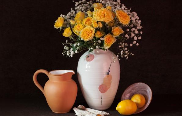Picture lemon, roses, vase, gypsophila