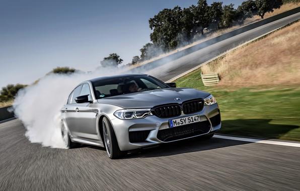 Picture asphalt, grey, smoke, speed, BMW, sedan, 4x4, 2018, four-door, M5, V8, F90, M5 Competition