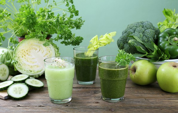 Picture greens, table, apples, glasses, fruit, drinks, vegetables, cabbage, parsley, cucumbers, salad, smoothies