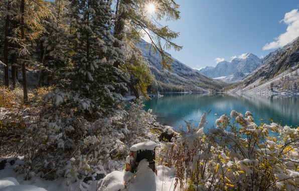 Picture winter, snow, trees, mountains, lake, Russia, The Altai Mountains, The Altai mountains