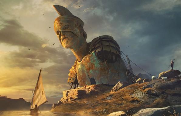 Picture colossus, boat, statue, shepherd, Colossus, Vladimir Manyukhin