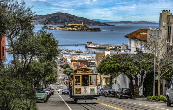 Picture road, the ocean, street, coast, building, home, CA, San Francisco, tram, USA, Hyde Street