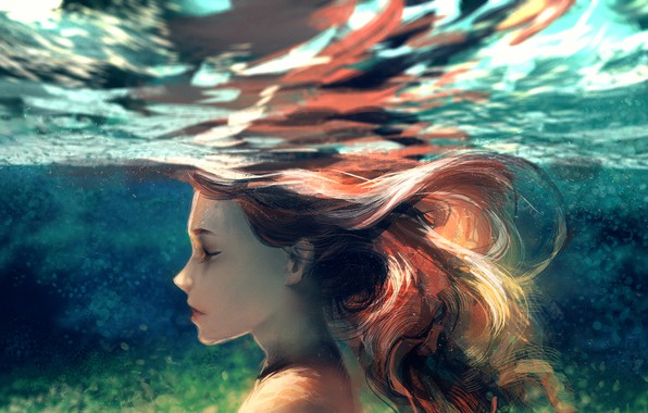 Picture girl, under water, by yuumei
