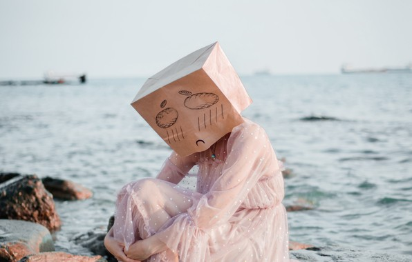 Picture wallpaper, girl, sea, mood, sadness, stones, mask