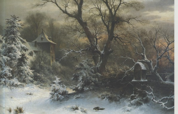 Picture winter, snow, SOPHUS JACOBSEN, Sunset in the forest