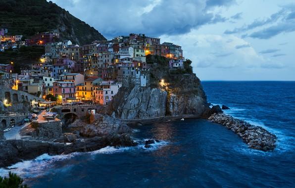 Picture sea, landscape, rock, home, the evening, lighting, Italy, surf, the village, Manarola, Manarola, Cinque Terre, …