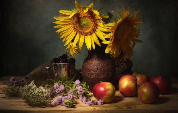 Picture sunflowers, flowers, cherry, berries, the dark background, table, apples, food, bouquet, mug, dishes, vase, pitcher, …