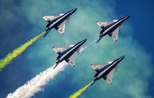 Picture Smoke, Fighter, Aerobatic team, Chengdu J-10, AIR FORCE CHINA, August 1st aerobatic team, HESJA Air-Art …