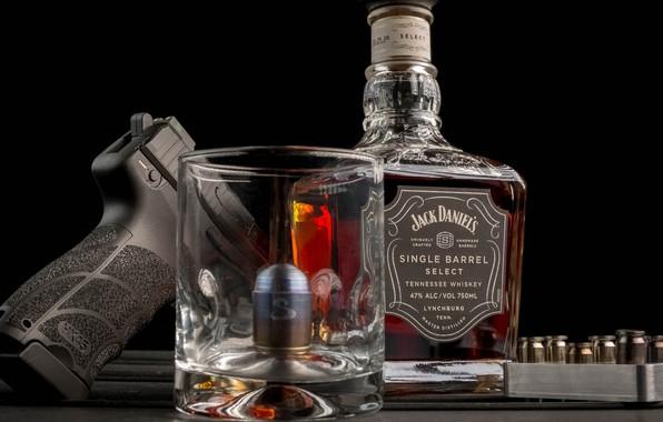 Picture gun, trunk, black background, cartridges, whiskey, whiskey, Jack Daniels, Jack Daniels
