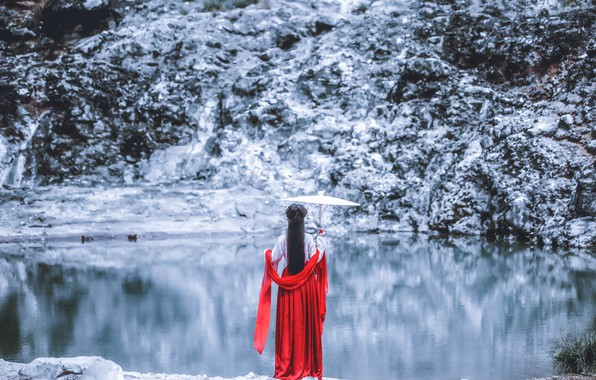 Picture girl, lake, umbrella, Japanese, dress