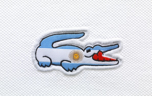 Picture white, the sun, red, blue, teeth, crocodile, flag, logo, mouth, red, logo, white, thread, Lacoste, …