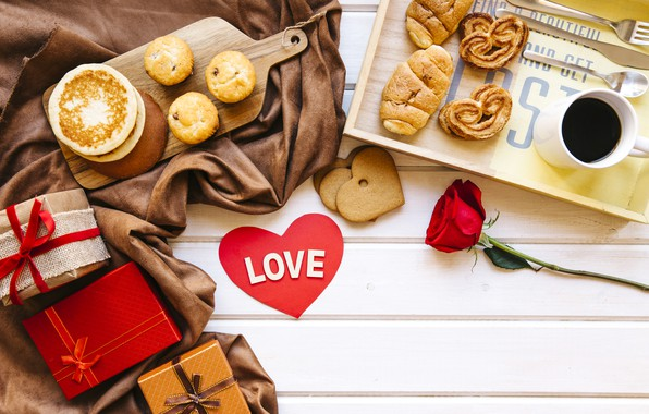 Picture love, gift, roses, Breakfast, red, red, love, heart, cakes, romantic, coffee cup, valentine's day, croissants, …