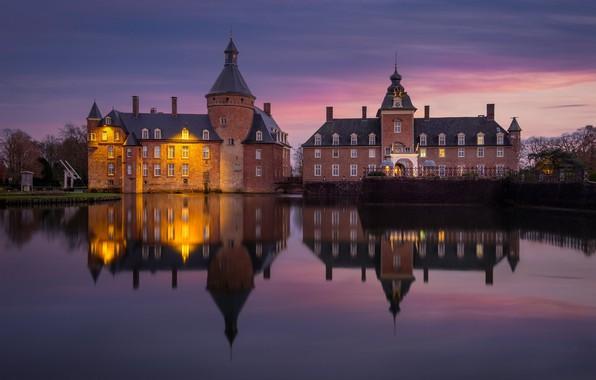 Picture lights, pond, castle, Germany, Castle Anholt