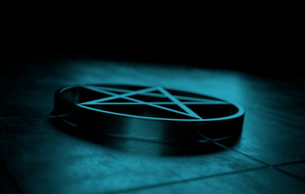 Picture dark, medallion, light, pentagram, art, render, render, reflection, blender, pentagram, the medallion, blender3d, 3dart