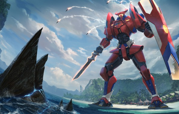 Picture sword, rocket, shield, pacific rim, jaeger, data blinded