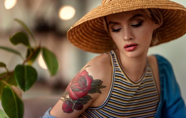 Picture girl, face, rose, portrait, hat, makeup, lipstick, tattoo, sponge, shoulder, Pauline, Tatiana GUZ