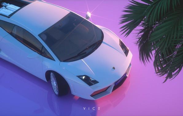 Picture Auto, Music, Lamborghini, Style, Silhouette, Gallardo, Art, Art, Style, Neon, Rendering, Lamborghini Gallardo, Illustration, 80's, …