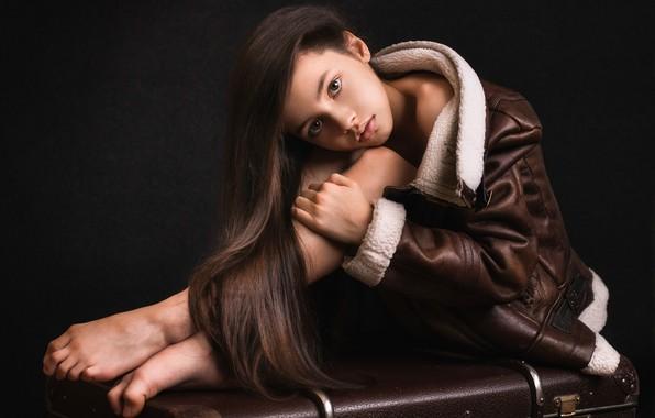 Picture look, pose, jacket, girl, suitcase, long hair, the dark background, Elina Garipova